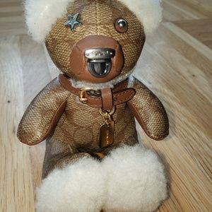 Coach Signature Teddy Bear Bag Charm/keychain